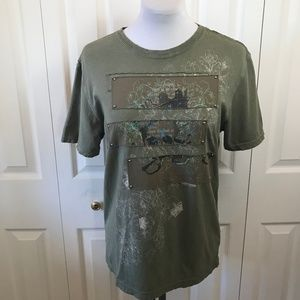 King Of Prides Khaki Distressed Studded T-ee Shirt